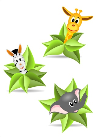 baby animals: three animal stickers - zebra, elephant and zebra with green leaves on white background - vector illustration