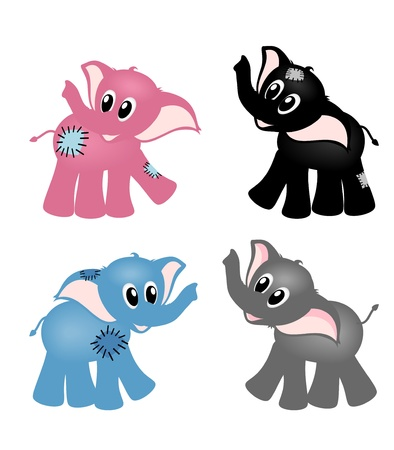 four isolated colorful elephants, blue, pink, gray and black on white background - vector illustration Stock Vector - 11969621