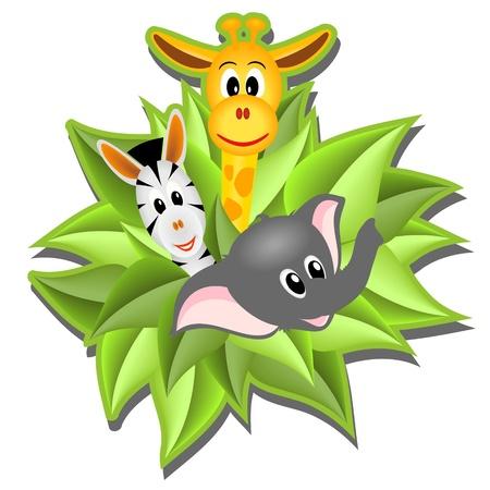 little cartoon elephant, giraffe and zebra  on background from green leaves - illustration