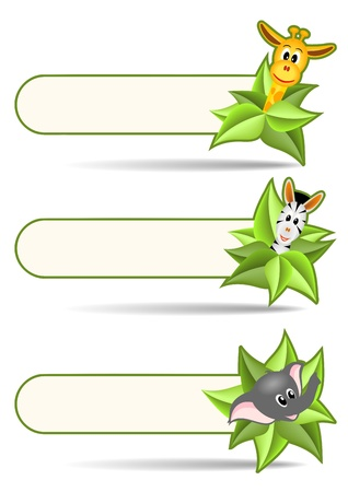 three animal stickers - zebra, elephant and zebra with green leaves on white background - illustration Vector