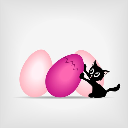 little black kitty holding big pink easter eggs on gray background - illustration Stock Vector - 12077574