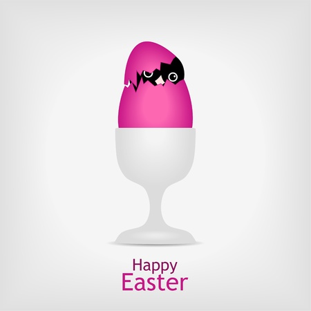 cute chicken hidden in pink easter egg in a cup - illustraton Stock Vector - 12077575