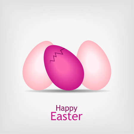 three pink easter eggs on gray background - illustration Stock Vector - 12077555