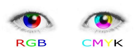gamut: Cmyk and rgb color wheels in human eyes - bitmap illustration