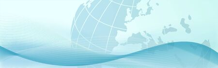 elegant web banner with blue earth and abstract waves - bitmap illustration illustration