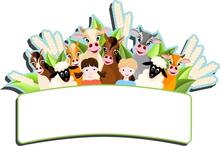 large group of animals: banner with two children, sheep, cows and horses,  farm animals - vector illustration
