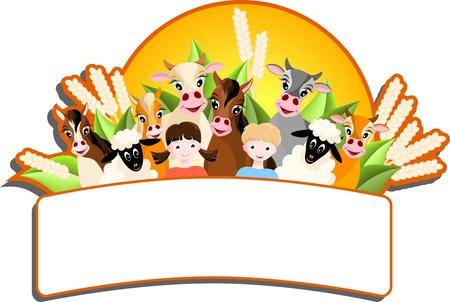 large group of animals: banner con dos ni�os, ovejas, vacas y caballos, granja de animalsand sol - ilustraci�n vectorial Vectores