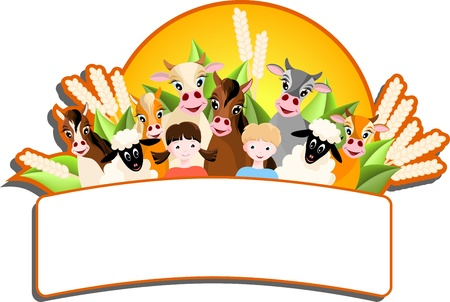 sheep farm: banner with two children, sheep, cows and horses,  farm animalsand sun - vector illustration