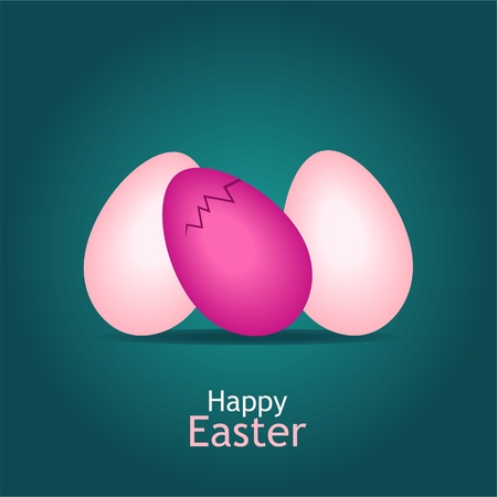 three pink easter eggs on green background - vector illustration Stock Vector - 12208798