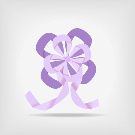 decorative abstract violet ribbon, flower ongray background - vector Stock Vector - 12208805