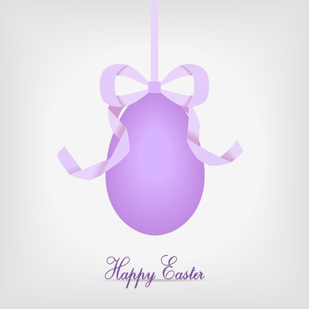 hanging easter egg with violet ribbon - vector illustration Stock Vector - 12208804