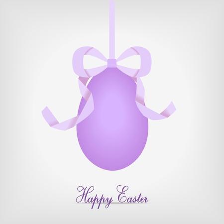 hanging easter egg with violet ribbon - vector illustration Stock Vector - 12208804