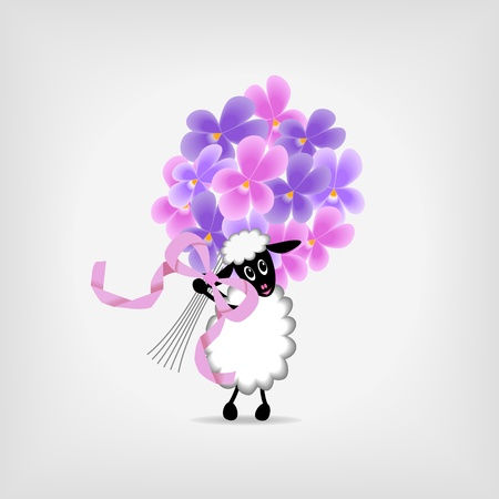 cute sheep holding bunch of violet flowers on gray background,  - vector illustration Vector