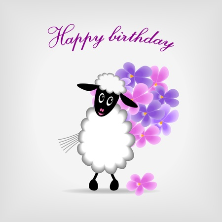 happy birthday vector: cute sheep holding bunch of violet flowers on gray background, with text Happy birthday  - vector illustration