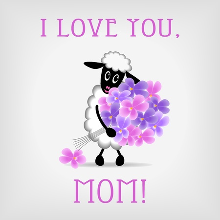 valentines day mother s: cute sheep holding bunch of violet flowers on gray background, with text I love you, Mom  - vector illustration