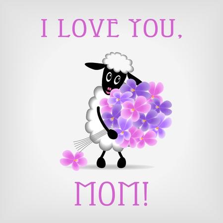 animalitos tiernos: ovejas lindo que sostiene manojo de flores de color violeta sobre fondo gris, con el texto Te amo, mamá - ilustración vectorial