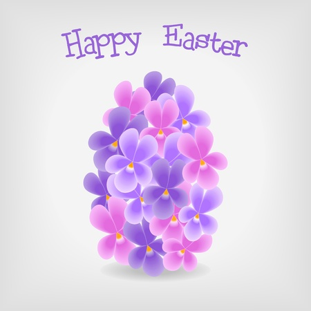 abstract easter egg from violet flowers, greeting card -vector illustration Vector