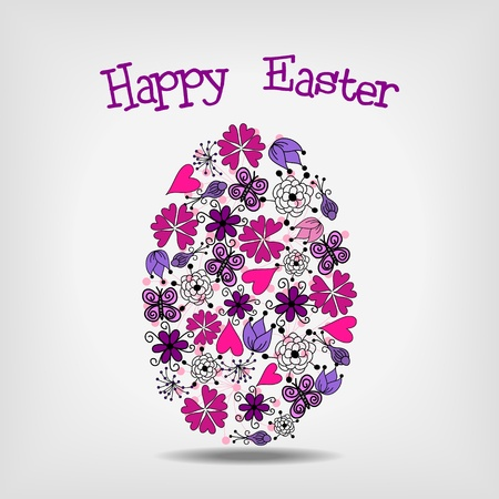 hand drawn flower: pink and violet floral elements in shape of easter egg- vector illustration
