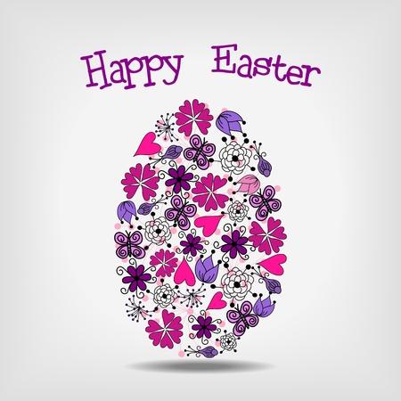 happy easter: pink and violet floral elements in shape of easter egg- vector illustration