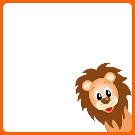 leon bebe: le�n lindo en el fondo blanco en el borde naranja - ilustraci�n vectorial