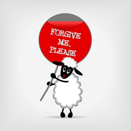 sheep sign: cute sheep holding red sign Forgive me, please