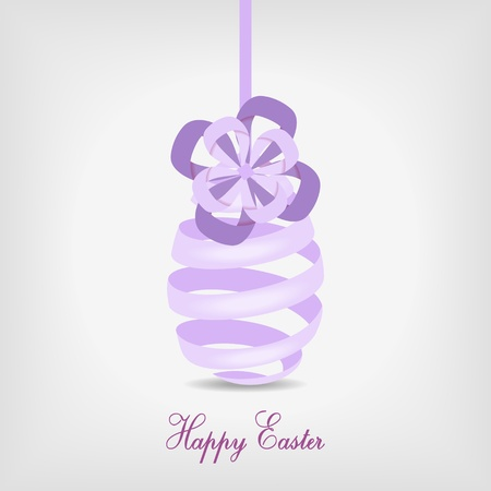 violet easter egg from spiral ribbon - vector illustration Vector
