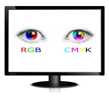 color in: CMYK y ruedas de color RGB en los ojos humanos en el monitor - ilustración de mapa de bits Foto de archivo