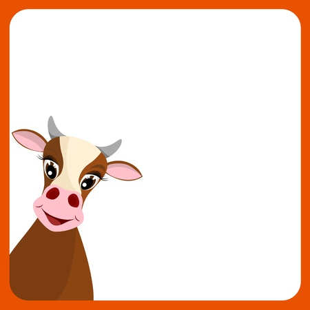 bullock animal: cute yellow cow in empty frame with red border - vector illustration Illustration