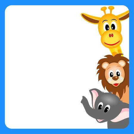 pequeña jirafa, el elefante y el león sobre fondo blanco en el borde azul - ilustración vectorial Ilustración de vector