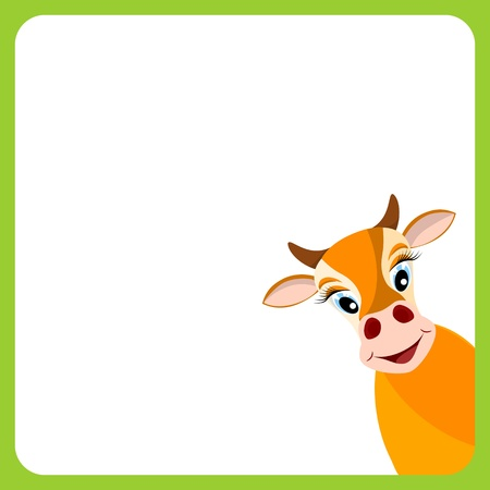 bullock animal: cute yellow cow in empty frame with green border - vector illustration