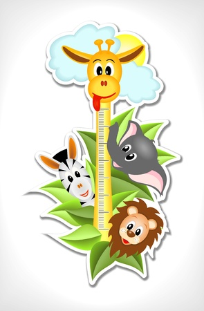 scale for children with four african animals - zebra, giraffe, lion and elephant - kid vector illustration