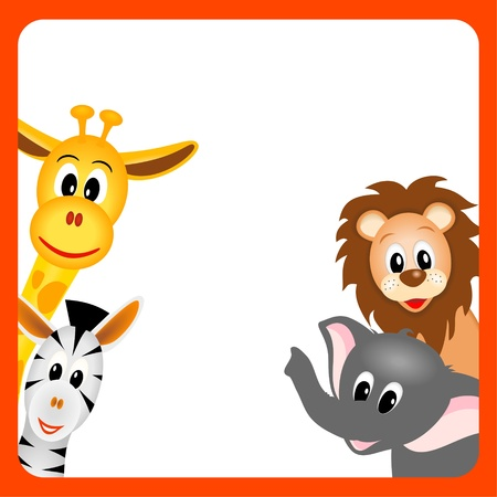kleine Giraffe, Elefant, Zebra und Löwe auf weißem Hintergrund in roten Rand - kid Vektor-Illustration Vektorgrafik