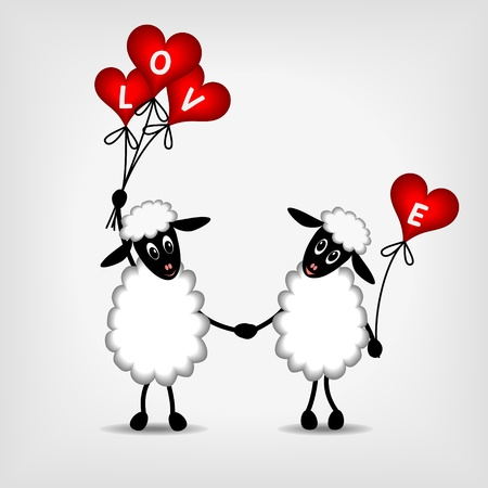 two animals: two sheep in love with red hearts - balloons and text LOVE - vector illustration