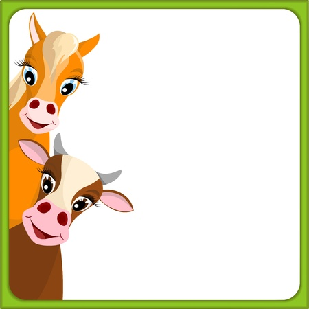 farm animal cartoon: cute brown cow and horse in empty frame with green border - illustration