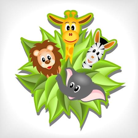 leon bebe: elefante de dibujos animados poco, jirafas, leones y cebras en el fondo de hojas verdes - ilustración vectorial