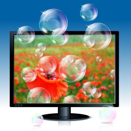 illustration of black lcd monitor with image of red poppy an soap bubbles coming out from screen illustration