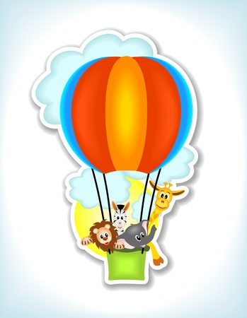 lion, giraffe, zebra and elephant in colorful hot air balloon