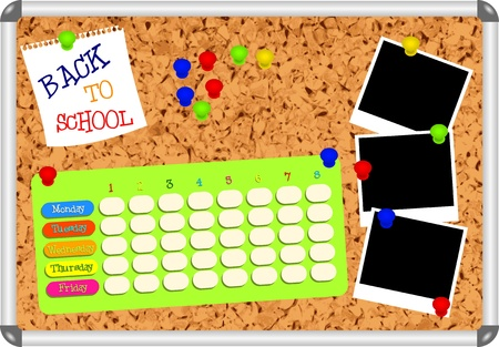 school schedule: Cork board with blank school plan, pins, empty snapshot frames and text BACK TO SCHOOL - vector illustration