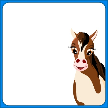 cute brown and white horse in empty frame with blue border and white background - illustration Vector