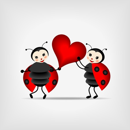 two happy ladybugs holding big red heart Vector