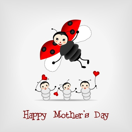 mother ladybug with three babies and text HAPPY MOTHER Stock Vector - 12661430
