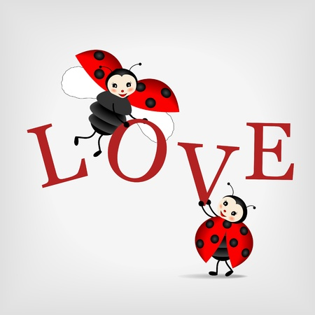 two happy ladybugs holding big letters LOVE