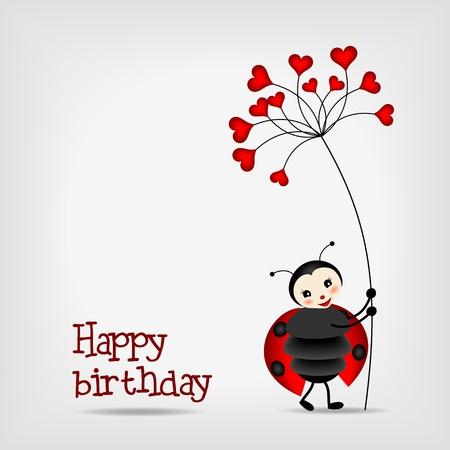 かわいいてんとう虫の誕生日カード - 赤い花を持つベクトル イラスト