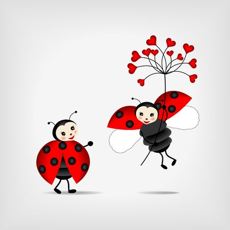 ladybug cartoon: two happy ladybugs holding red flower - vector Illustration
