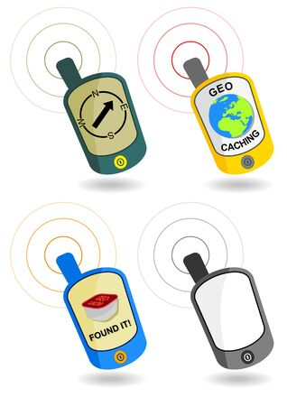 four gps navigators with geocaching theme