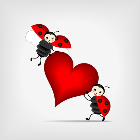 two happy ladybugs holding big red heart Stock Vector - 12870104