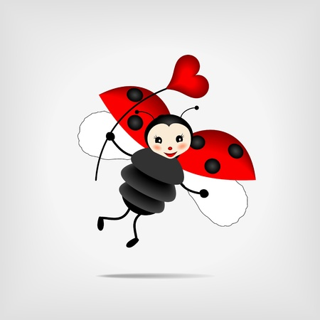 cute flying ladybug holding  red heart Vector