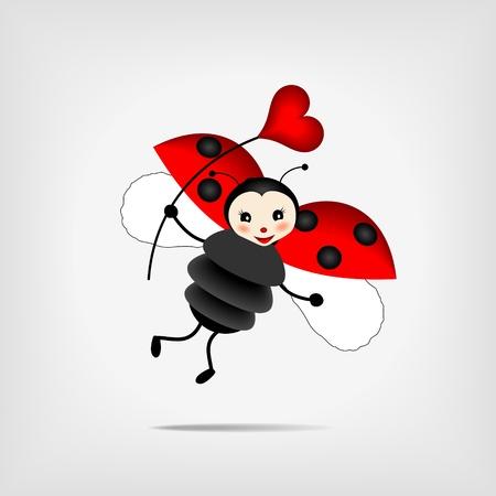 catarina caricatura: linda de vuelo sosteniendo el coraz�n rojo Vectores