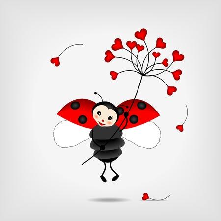 cute ladybug holding big red flower