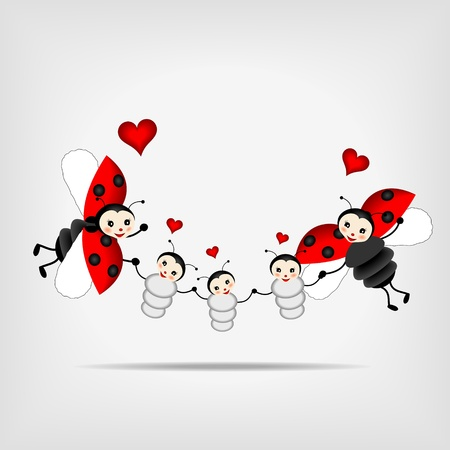 cartoon ladybug: happy ladybugs - parents and tree children